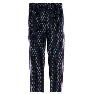 J.Crew Black Ikat Silver Tux Stripe Pull On Pants